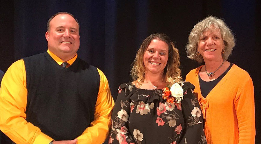 Pictured left to right: Kelly Guempel, OCHS principal, Briana Hoover and Dr. Brenda Tanner, Superintendent