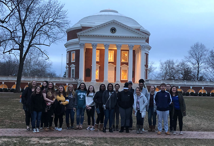 OCHS students pictured in front of Rotunda on the UVA Lawn.