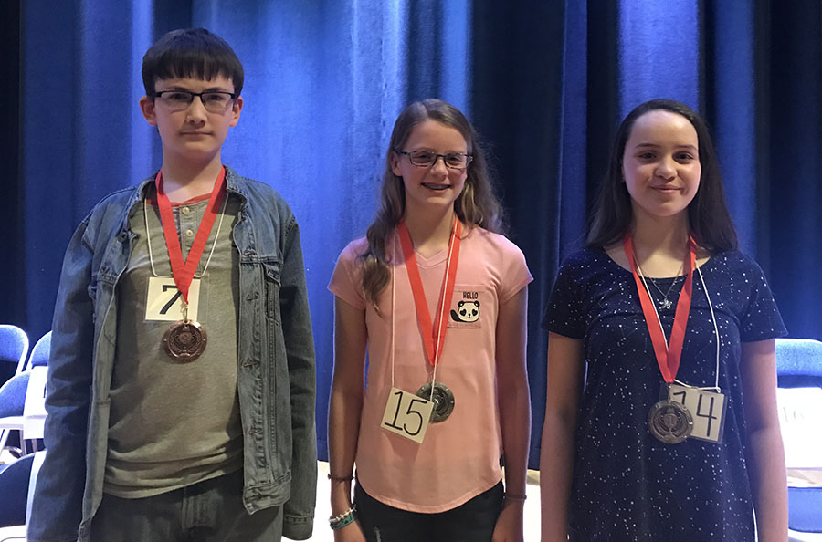 Division winners (left to right): 3rd Place - Jackson Hamilton - PHMS; 2nd Place - Emma Olson - LGMS; ; 1st Place - Kaitlyn Shackleton - PHMS