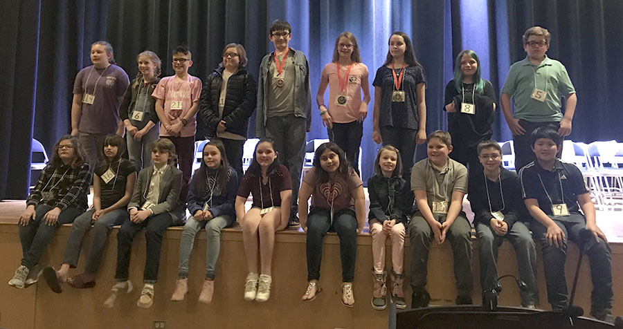 Group photo of the division spelling bee participants