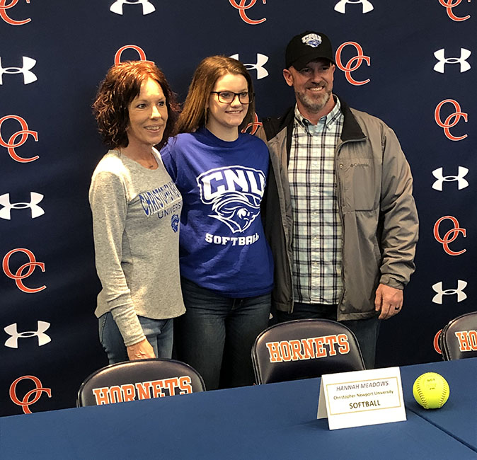 Hannah Meadows signed to play softball at Christopher Newport University in Newport News.