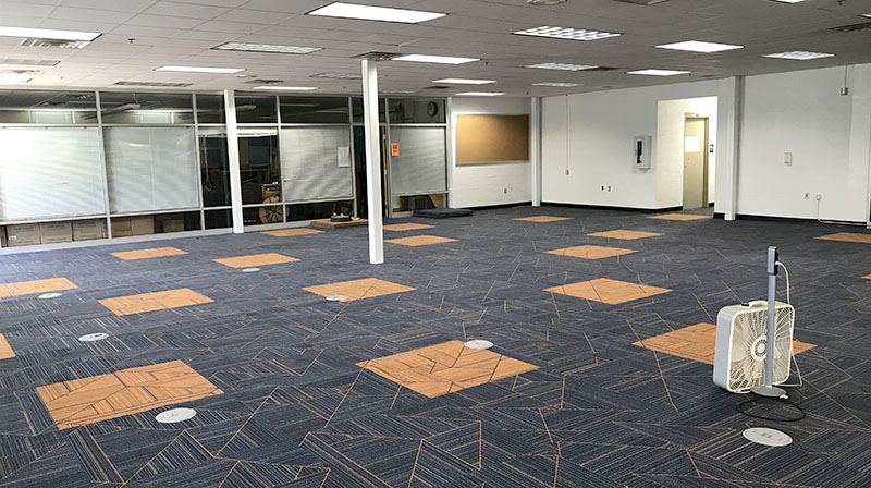 New carpet installed in the main section of the library