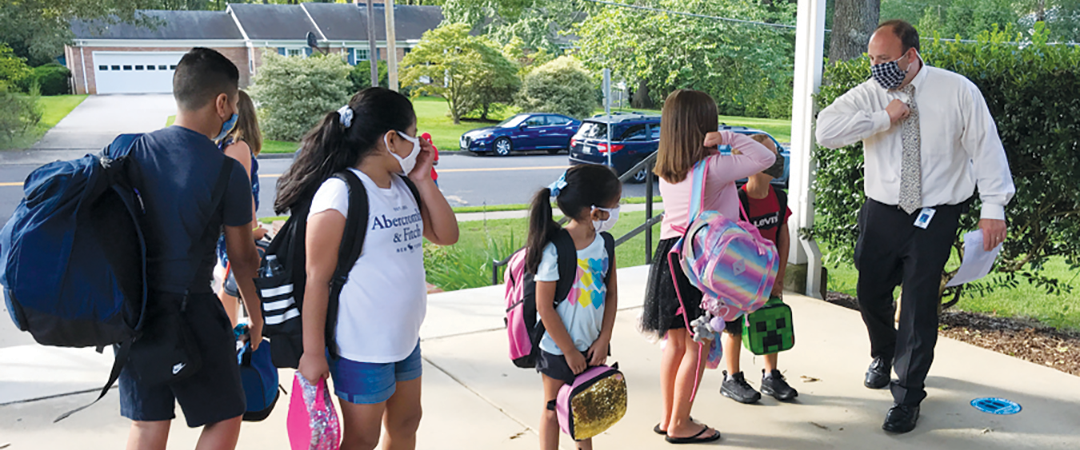 Principal Sodano greets GBE students on 1st Day of School