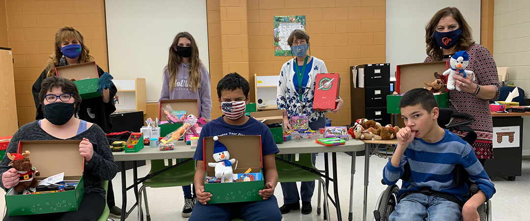 """Ms. Corker's students help fill boxes for """"Operation Christmas Child"""""""