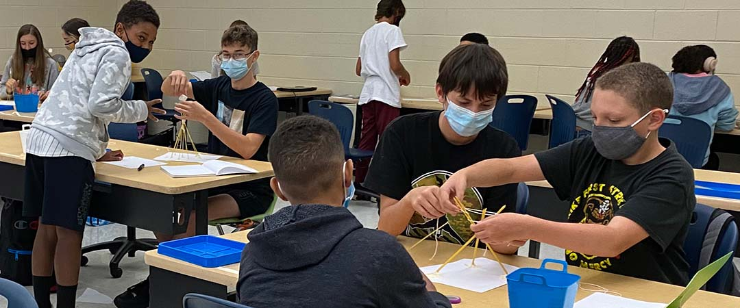 Students from Locust Grove Middle STEM class use the maker space